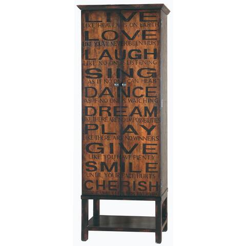 Hand Painted Distressed Black/Brown Finish Wine Cabinet