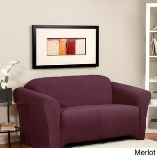 Diamond Beige Stretch Loveseat Slipcover (Option: Loveseat, Merlot)