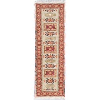 ecarpetgallery Royal Kazak Brown, Green, Ivory Wool Rug (2'3 x 6'8)