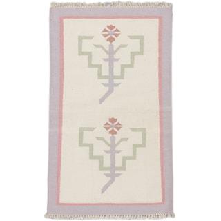 ecarpetgallery Palas Denizli Blue Wool Kilim (2'11 x 5'0)
