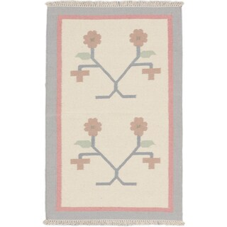 ecarpetgallery Palas Denizli Blue Wool Kilim (3'3 x 4'11)