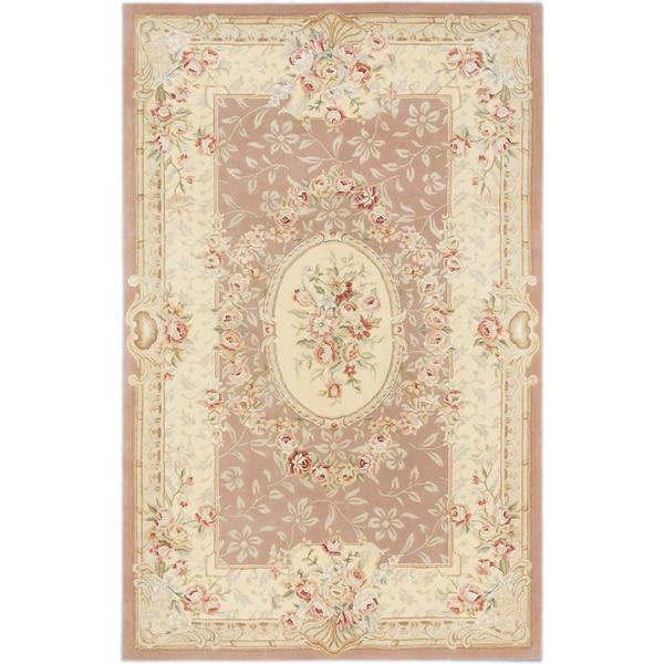 ecarpetgallery savonnerie HT Brown Wool, Silk Rug - 5'3 x 8'3