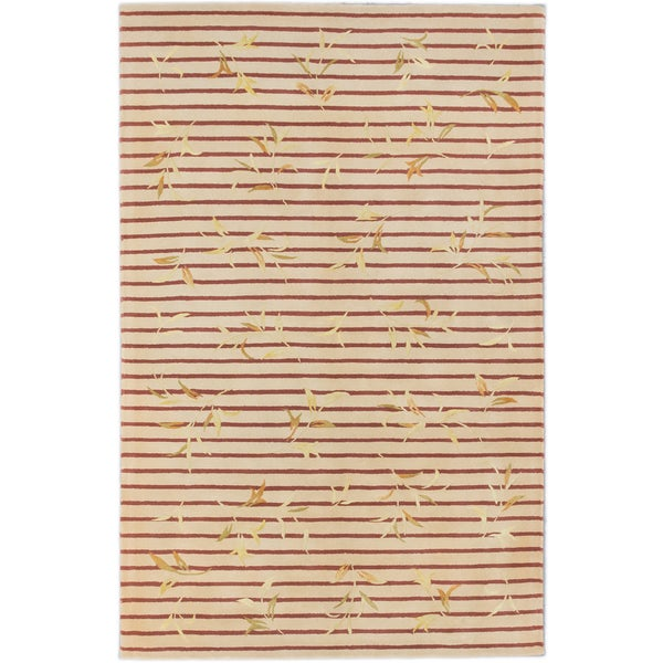 ecarpetgallery Classic Ht Brown, Ivory Wool, Silk Rug (5'3 x 8'3)