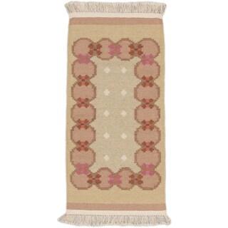 ecarpetgallery Palas Denizli Yellow Wool Kilim (2'4 x 4'9)