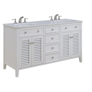 "Somette 60"" Corinne Double Bathroom Vanity Set in White"