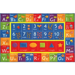 KC Cubs Playtime Collection ABC Alphabet, Numbers, and Shapes Educational Area Rug - 8'2 x 9'10