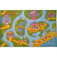 KC Cubs Playtime Collection Girls Road Map Educational Polypropylene Area Rug - (8'2 x 9'10) - 8'2 x 9'10