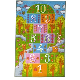KC Cubs Playtime Collection Childrens Hopscotch Multicolor Polypropylene Educational Area Rug (5'0 x 6'6)