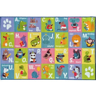 KC Cubs Playtime Collection ABC Alphabet Multicolor Polypropylene Animal Educational Area Rug