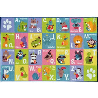 KC Cubs Playtime Collection ABC Alphabet Multicolor Polypropylene Animal Educational Area Rug (8'2 x 9'10)