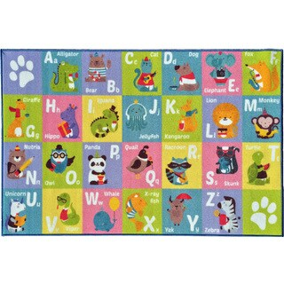 KC Cubs Playtime Collection ABC Alphabet Multicolor Polypropylene Animal Educational Area Rug - multi