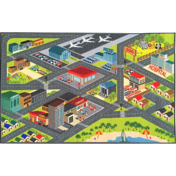 KC Cubs Playtime Collection Road Map Educational Area Rug