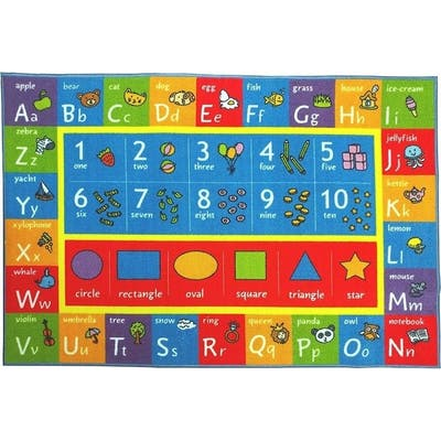 KC Cubs Playtime Collection ABC Alphabet, Numbers, and Shapes Multicolor Polypropylene Educational Area Rug