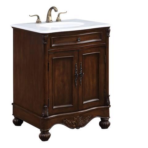 """Somette 27"""" Alameda Single Bathroom Vanity set in Teak Color"""