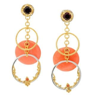 Michael Valitutti Palladium Silver Bamboo Coral, Garnet and Orange Sapphire Dangle Earrings