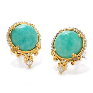 Michael Valitutti Palladium Silver Round Virginia Amazonite & White Zircon Stud Earrings