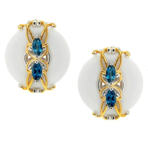 Michael Valitutti Palladium Silver Donut White Agate & London Blue Topaz Stud Earrings