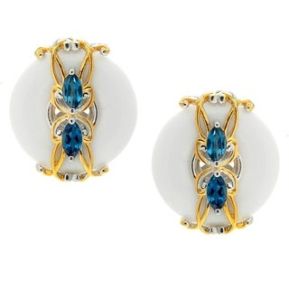 Michael Valitutti Palladium Silver Donut White Agate & London Blue Topaz Stud Earrings
