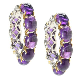 Michael Valitutti Palladium Silver African Amethyst Hoop Earrings