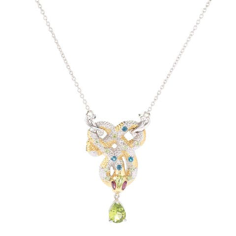 Michael Valitutti Palladium Silver Peridot, Rhodolite and London Blue Topaz Snake Necklace