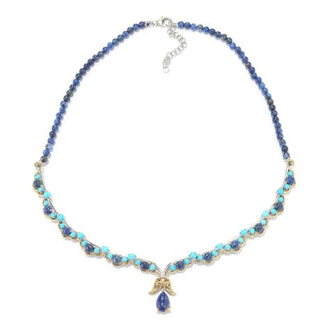 Michael Valitutti Palladium Silver Sleeping Beauty Turquoise and Lapis Necklace