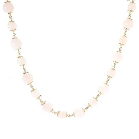 """Gems en Vogue Palladium Silver20"""" 8-10mm Gemstone Bead & Tassel Necklace"""