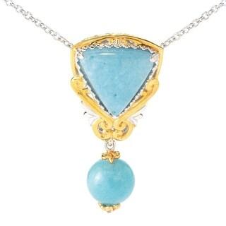 Michael Valitutti Palladium Silver Trillion Aquamarine & Dangling Bead Pendant