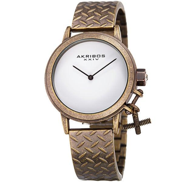 Akribos XXIV Women's Swiss Quartz Charm Antique Copper Bracelet Watch. Opens flyout.