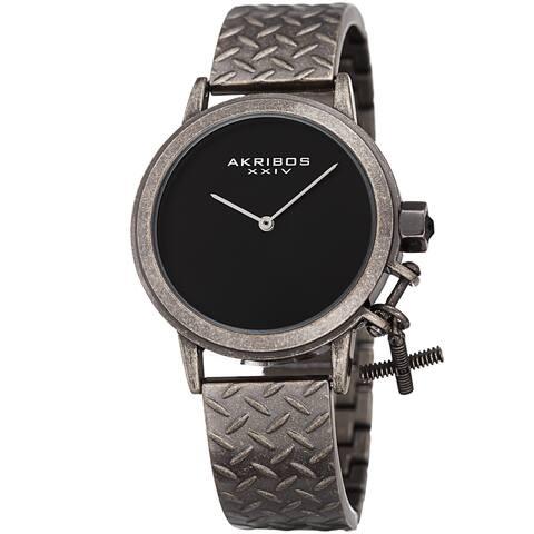 Akribos XXIV Women's Swiss Quartz Charm Antique Black Gun Bracelet Watch