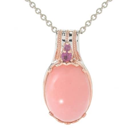 Gems en Vogue Palladium Silver Ica Peru Pink Opal & Rhodolite Pendant