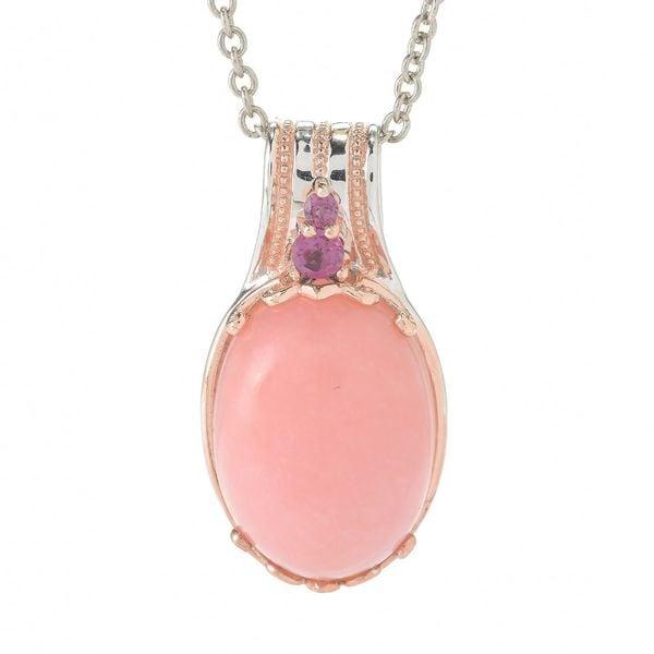 Michael Valitutti Palladium Silver Ica Peru Pink Opal & Rhodolite Pendant