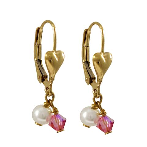 Luxiro Gold Filled Swarovski Crystals Freshwater Pearls Children's Heart Earrings