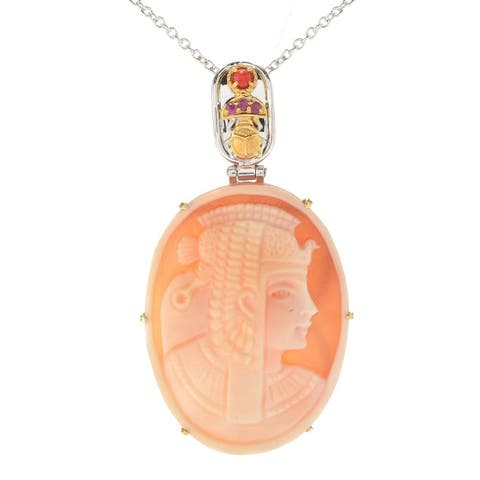 Michael Valitutti Palladium Silver Carved Shell Cameo, Red Coral and Ruby Pendant with Beetle
