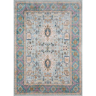 Machine-Made Harlow Adoria Teal Polyester Rug (5' x 8')