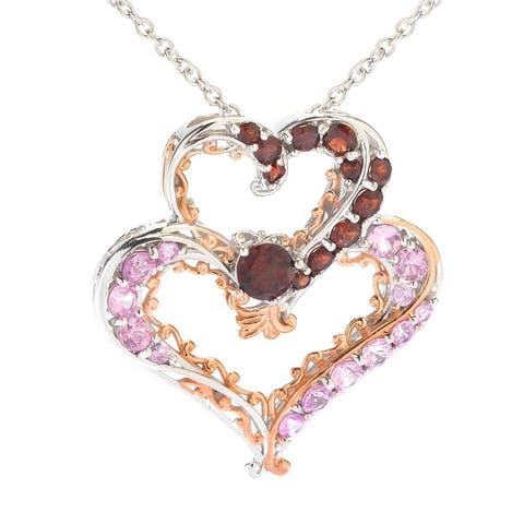 Michael Valitutti Palladium Silver Garnet & Pink Sapphire Interlocking Heart Pendant