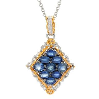 Michael Valitutti Palladium Silver Ceylon Blue Sapphire Cluster Diamond Shaped Pendant