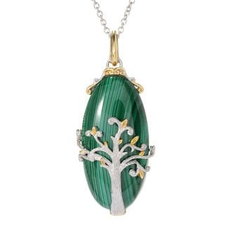 Michael Valitutti Palladium Silver Oval Malachite Tree of Life Pendant