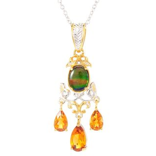 Michael Valitutti Palladium Silver Ammolite Triplet & Madeira Citrine Dangle Pendant
