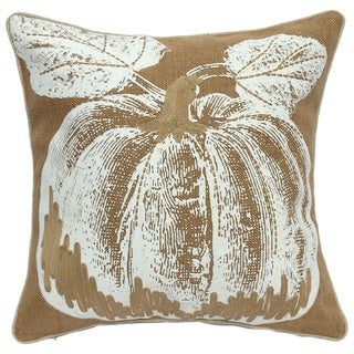 Jute and Linen Pumpkin-printed Throw Pillow