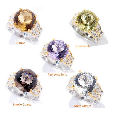 Michael Valitutti Palladium Silver Fancy Cut Gemstone & White Zircon Ring