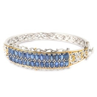 Michael Valitutti Palladium Silver Oval Sapphire Two-Row Bangle Bracelet