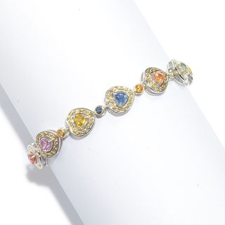 Michael Valitutti Palladium Silver Multi Color Heart Shaped Sapphire Tennis Bracelet