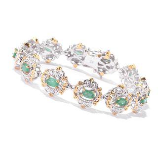 Michael Valitutti Palladium Silver Oval Emerald Scrollwork Halo Tennis Bracelet