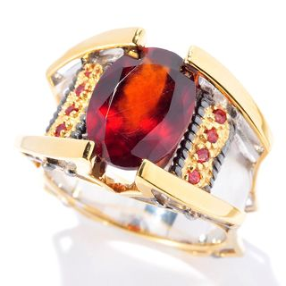 Michael Valitutti Palladium Silver Hessonite Garnet & Dark Orange Sapphire Men's Ring