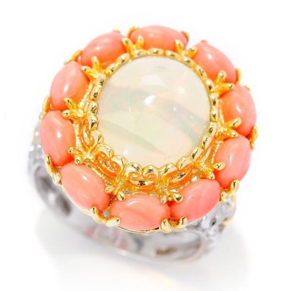 Michael Valitutti Palladium Silver Ethiopian Opal and Salmon Coral Flower Ring