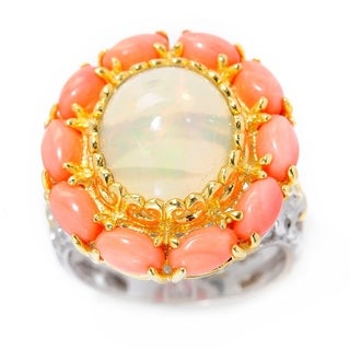 Michael Valitutti Palladium Silver Ethiopian Opal & Salmon Coral Flower Ring