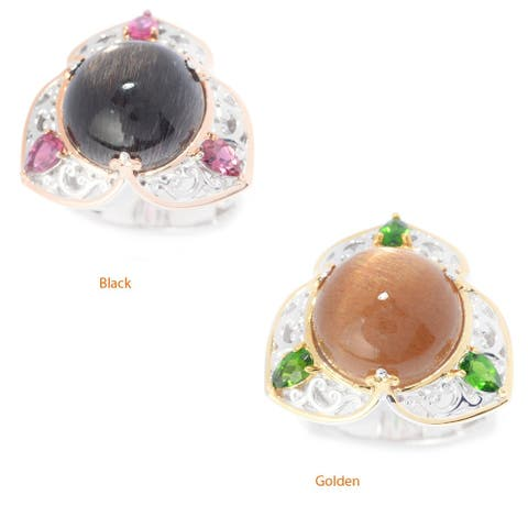 Gems en Vogue Palladium Silver Sunstone & Pink Tourmaline or Chrome Diopside Scrollwork Trefoil Ring