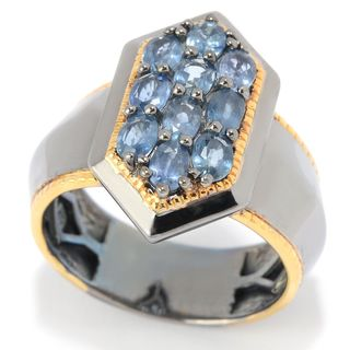 Michael Valitutti Palladium Silver Cluster Ceylon Blue Sapphire Marquise-Top Polished Men's Ring