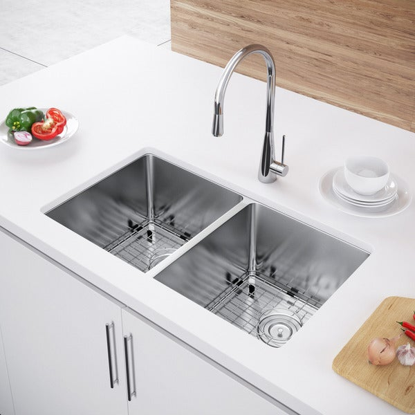 Exclusive Heritage 31 x 18 Double Bowl 50/50 Undermount Stainless Steel Kitchen Sink