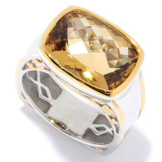 Michael Valitutti Palladium Silver Checkerboard Cut Citrine East-West Men's Ring (Option: 14)